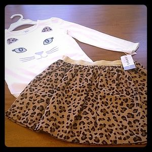 Carter's leopard skirt and top NWT